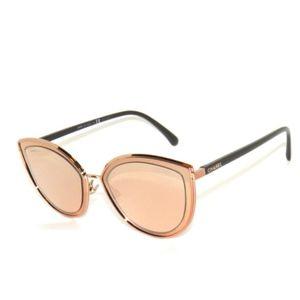 Chanel 4222 Cut Eye Rose Gold Mirror Sunglasses
